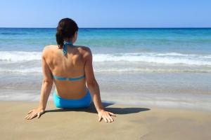 girl on beach, beach, relaxation